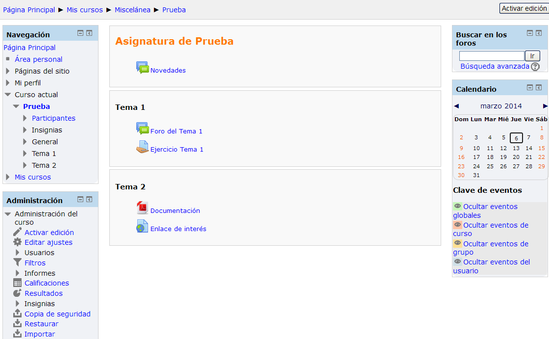 Moverse en Moodle. Manual de Moodle 2 1.
