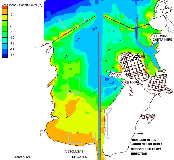 Figura 6-8 Dirección de la Corriente Superficial Medida y Sitios de Disposición Norte (Exterior), Central, Sur y Este, sobre el Modelo Digital del Terreno Fuente: Tomado de The Louis Berger Group,
