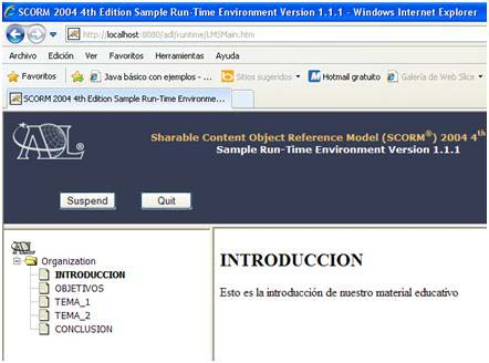2 SCORM 2004 4th Edition Sample Run-Time Environment Observar que el índice de contenidos dentro de una plataforma e-learning