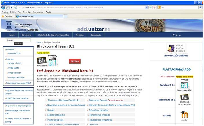 Blackboard http://add.unizar.es/add/area/index.php?