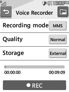 Voice Recorder From the standby screen, touch and then to access the Voice Recorder. Voice Recorder Use the Voice Recorder to record voice memos or other sounds.