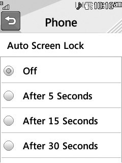 Auto Screen Lock This allows you to set the amount of time before your screen locks automatically.