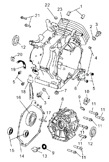 PARTS LIST AND DIAGRAMS Crankcase Assembly NO. PART NO. DESCRIPTION QTY 1 QJ182QDP.01-11 LOCATING PIN 2 2 157.5-10 OIL DRAIN GASKET 2 3 157.5-9 OIL DRAIN BOLT 2 4 QJ150FMG.