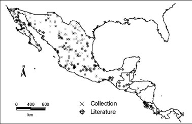 Coyote distribution in Mexico and Central America enced to the nearest minute of latitude and longitude.