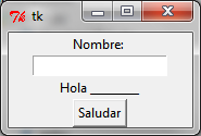 "Código: def desplegarsaludo(): #print(""hola "" + entry.get()) label2.config(text = ""Hola "" + entry."