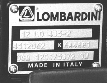 For spare parts and after sale assistance contact authorized Lombardini service centers. Tel. No. appears on service booklet.