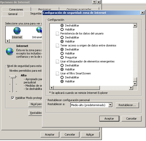 En este panel es posible encontrar la configuración específica para controlar la ejecución de Java, ActiveX y JavaScript.