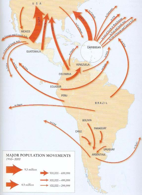 Mapa 2 Principales flujos migratorios en ALC, 1950-2000 Fuente: King et al., 2010, The Atlas of Human Migration. Global Patterns of People on the Move. Earthscan, Londres, p. 49.