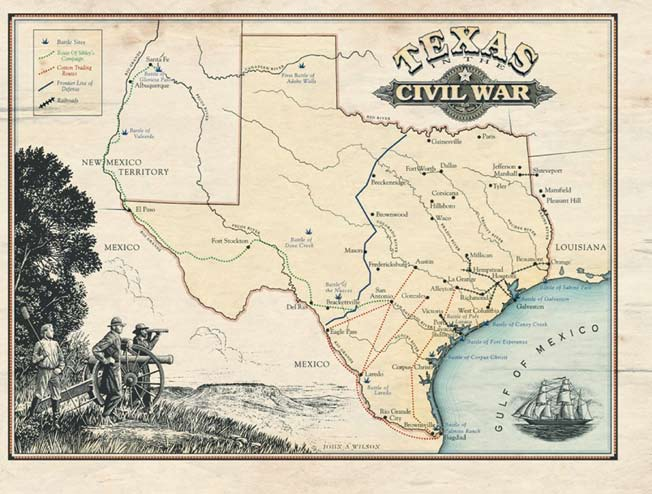 Map of Texas in the Civil War, Courtesy of the Texas Historical Commission Louisiana and Virginia, he promptly moved his family north to New York. There he joined in with Union forces.