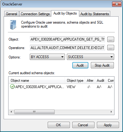 Captura de pantalla 67: Ficha Oracle Server properties - Audit by Objects 6.