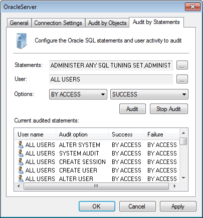 Captura de pantalla 68: Ficha Oracle Server properties - Audit by Statements 7.