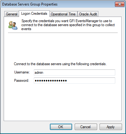 Captura de pantalla 61: Ficha Oracle Database group - Logon Credentials 5.