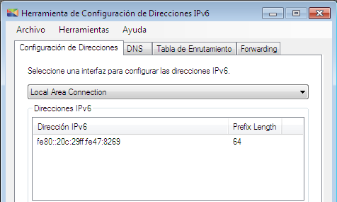 Pruebas Figura 10.4: Estado inicial de la interfaz Local Area Connection del host C. Router D El router D utiliza el sistema operativo Windows Vista SP1.