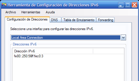 Pruebas La interfaz Local Area Connection 2 tiene la dirección link-local fe80::215:c5ff:fe7f:bc10/64 (ver Figura 10.6) Figura 10.