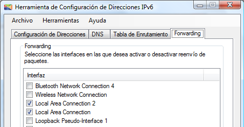 Pruebas Figura 10.10: Configuración de la interfaz Local Area Connection 2 del router D. Finalmente se debe activar el reenvío de paquetes en ambas interfaces.