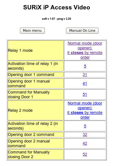 In the submenu: Relays programming you can see the following elements to program: Relay 1 mode Relay 2 mode Activation modes of relay, once received activation order The different values are: Normal
