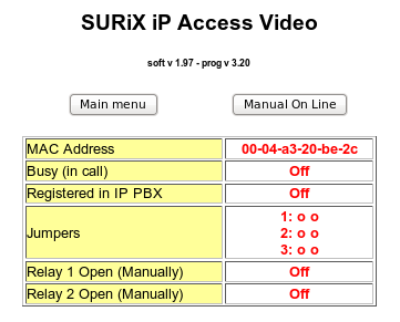 The submenu: ip Access Status contains the following elements The red color of the value indicates that is NOT possible to change it by programming, it means that is a read only value.