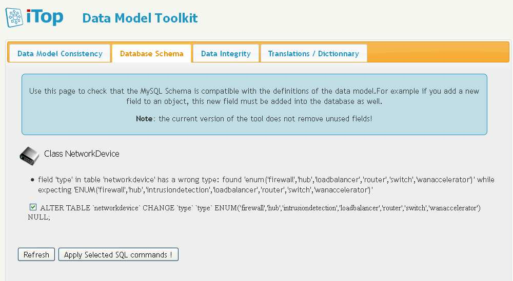 """depends_on""=>array()))); 3) Abrir la herramienta Data Model Toolkit Para ello vamos a: http://localhost/itop/toolkit/ Figura 55 - GC - Validando MetaModelo de Datos La pestaña ""Data"
