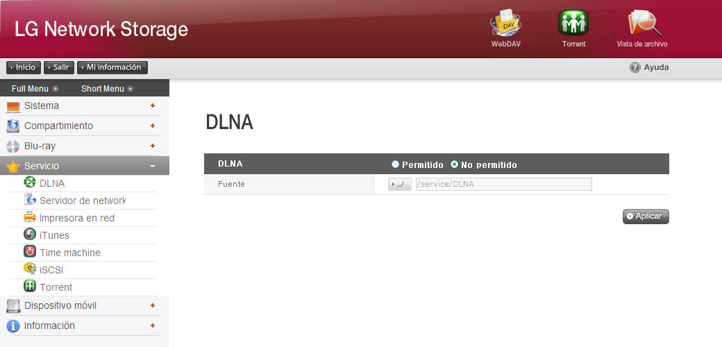 Servicio DLNA(Digital Living Network Alliance) DLNA, que significa Digital Living Network Alliance, permite un fácil acceso a los datos de multimedia como música, vídeo o imágenes por PC, disco duro
