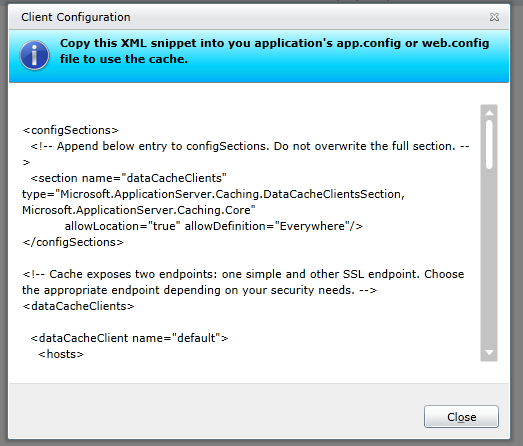 Windows Azure AppFabric 37 Figura 1.43.- Información de integración <configsections> <!-- Append below entry to configsections. Do not overwrite the full section.