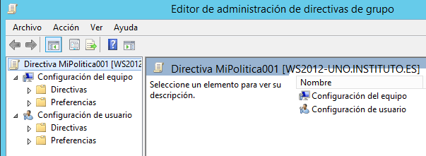 Políticas de grupo (group policy).