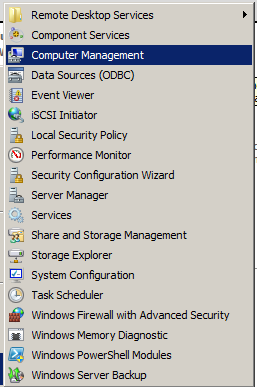 Herramientas *Computer Management *Event Viewer *iscsi Initiator *Local Security Policies *Performance Monitor *Security