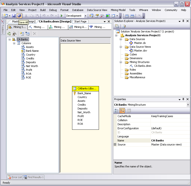Trabajando con Data Mining 32 Save Analysis Services Project Paso 2: Invocar al Deployment del