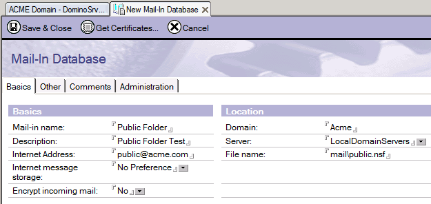 Captura de pantalla 10: Nueva base de datos Mail-in 7. En el Administrador de Lotus Notes, configure la carpeta para el uso del correo.