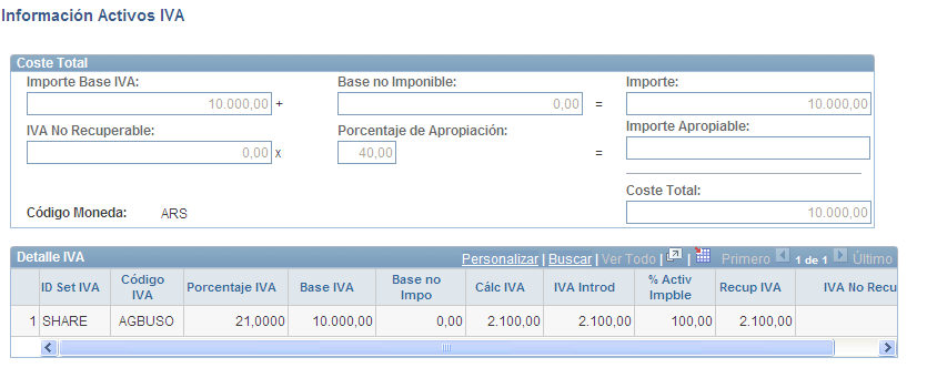 Página Información Activos IVA Costo Total Importe Base IVA IVA No Recuperable Base no Imponible Porcentaje de Apropiación Importe Importe Apropiable Coste Total Base imponible. IVA no recuperable.