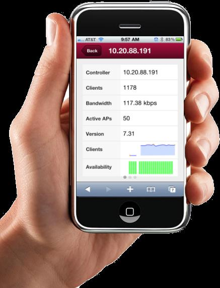 Mobile Management SEARCH LOCATE ANALYZE REPORT Any time, anywhere wired, wireless and NAC visibility and control Optimized for personal mobile devices including ipad, iphone & Android Centralized NMS