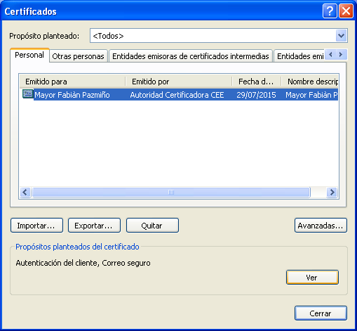 10 Figura H15. Certificado Personal instalado en el repositorio Windows visualizado empleando Google Chrome 2.