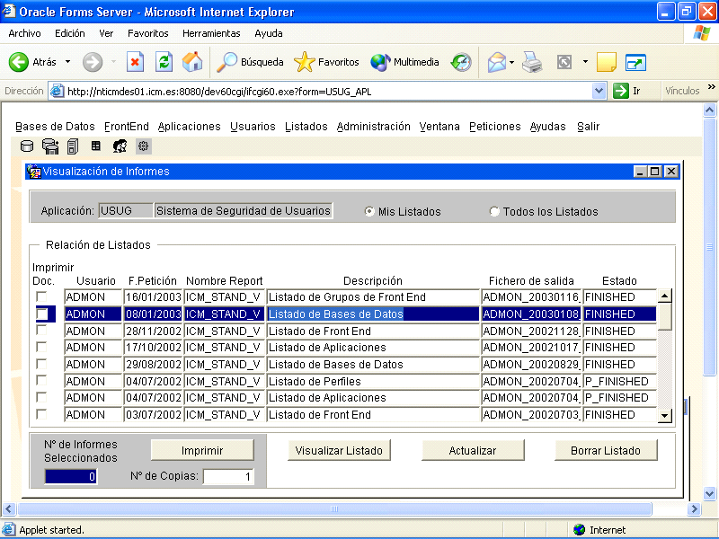REPORT BUILDER: VISUALIZACION Visualización de informes: LIS_REP.