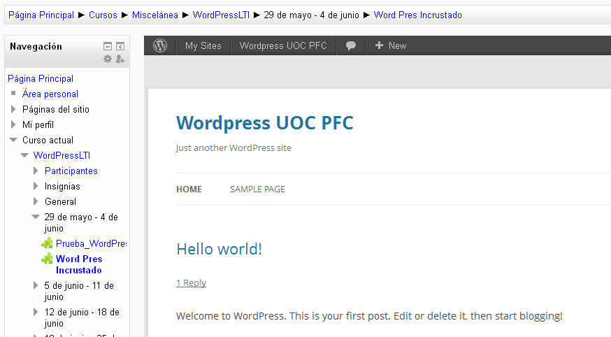 Figura 5.10: Wordpress integrado en Moodle 5.3.2.