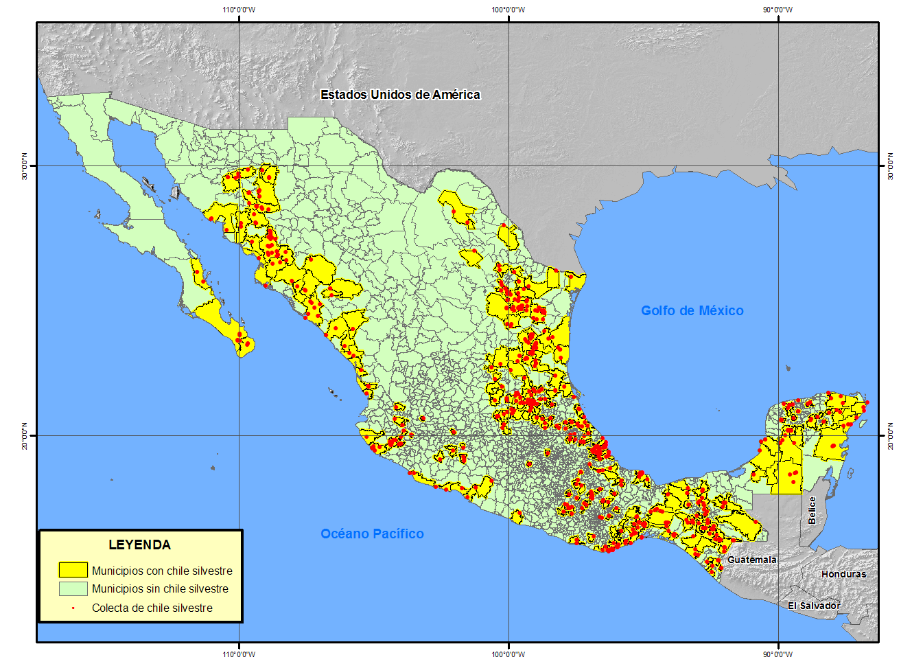 Distribution of wild Capsicum per municipality (291/2455 = 12 %) 12 % DE LOS