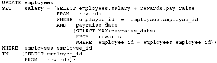 Problema en la sentencia Use una sub consulta correlacionada para actualizar filas en la tabla EMPLOYEES basándose en las filas de la tabla REWARDS: Este ejemplo usa la tabla REWARDS.