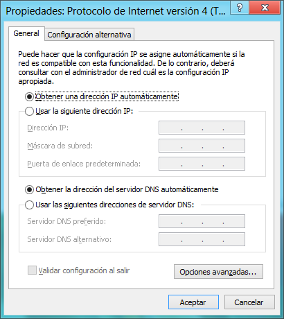 92 WINDOWS 8 Por tanto, para proceder a conectarnos a una red mediante el adaptador de red de área local, y previa conexión del cable Ethernet en la interfaz de red, seleccionamos el elemento