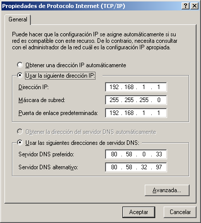 3.1.3 Modificación de la IP.