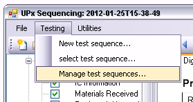 "Manual Operation Managing Test Sequences 2.3 Managing Test Sequences The list of all stored test sequences can be called via the menu item ""M"