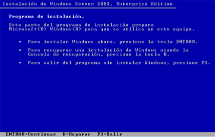 EVIDENCIAS DEL PROYECTO INSTALACION DE WINDOWS 2003 SERVER Pasó a Paso En primer lugar arrancaremos el servidor e introduciremos el CD de instalación de Windows Server 2003 Enterprise Edition SP2,