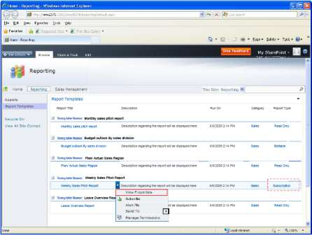 End User Run a report Ad Hoc or subscribe to a report from MS-Outlook Select a report from a report catalog available in