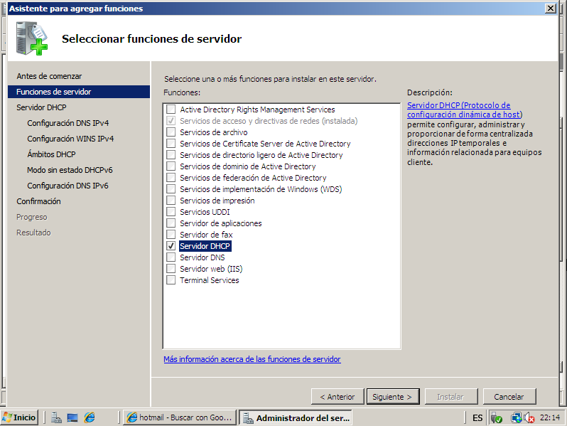 La instalación de Windows server 2008 estándar obsérvese en el punto (2.2 instalación Windows server 2008) 8.