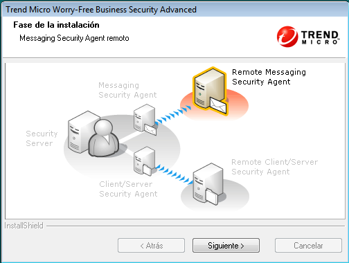 Instalar el servidor Etapa 5: instalación del Messaging Security Agent remoto Para instalar el Messaging Security Agent remoto: 1.