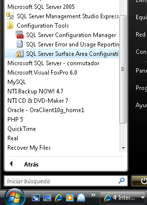 Configuración Tools SQL Server Surface