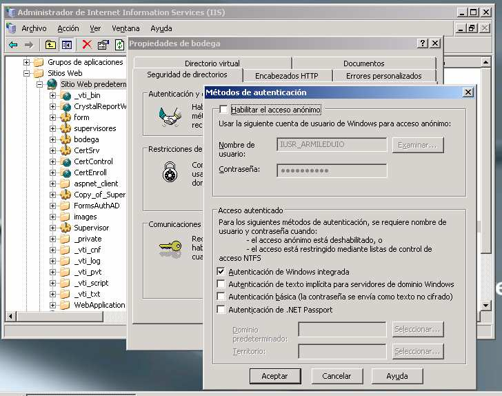 154 Gráfico 3-3: Habilitar Autenticación de Windows integrada.