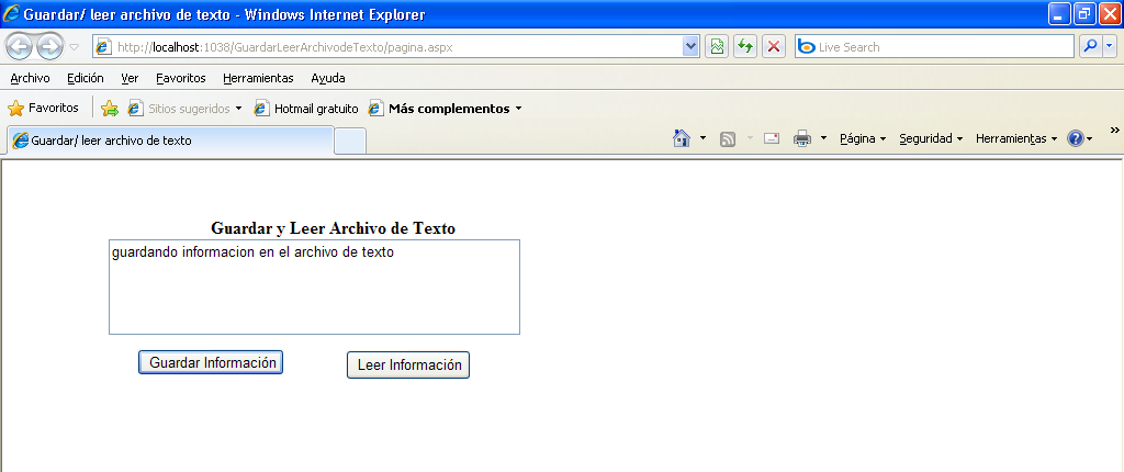 "Dim archivo As New System.IO.StreamReader(miruta) texto.text = archivo.readtoend archivo.close() Catch ex As Exception MsgBox(""No se pudo leer la informacion"", MsgBoxStyle."