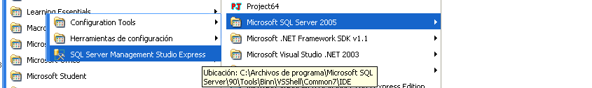 ANEXO C SQL SERVER Este tutorial utiliza como base de datos SQL Server 2005 Express. Dicha base de datos se puede instalar independientemente de la versión de Visual Studio. C.1.