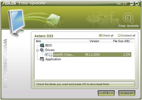 ASUS Easy Update English ASUS Easy Update is a software tool that automatically detects and downloads the latest BIOS, drivers, and applications for your PC. 1.