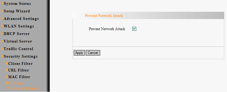10.4 Prevenir Ataque a la Red (Prevent Network Attack) Esta sección es para proteger la red interna de ataques externos tales como ataques de Inundación SYN, ataques Smurf, ataques LAND, etcétera.
