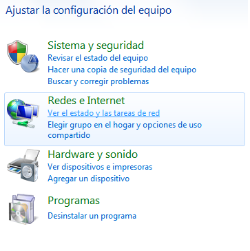 de Windows 7 y seleccione la opción Panel de Control.
