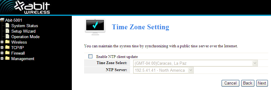 Click Next, Time Zone Setting will appear. You can select the time zone what you need. Click Next, LAN Interface Setup will appear. In this page, you can set IP address, Subnet Mask.